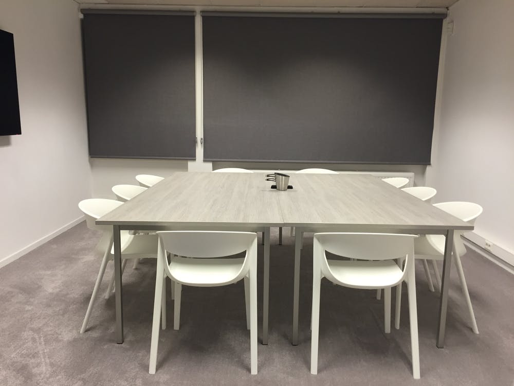 Square Beige Wooden Table With Chairs