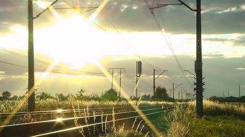 Foto d'estoc gratuïta de barana, capvespre, entrenar, ferrocarril