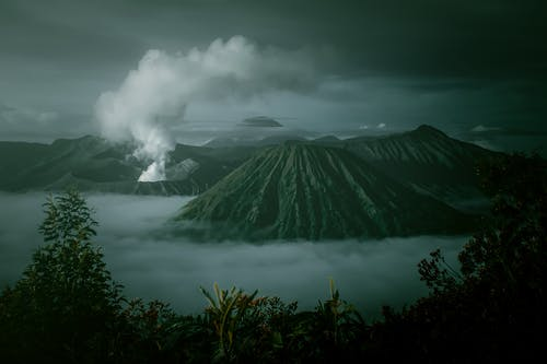 Volcanoes Under Grey Sky