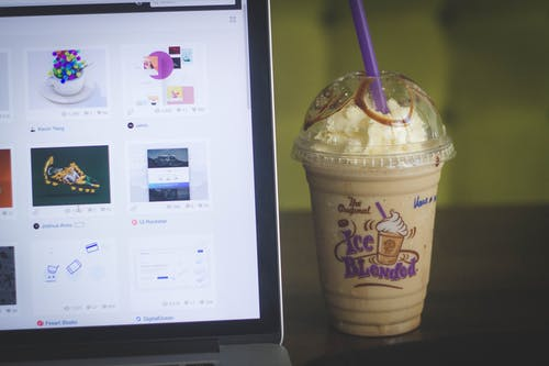 Frappe Smoothie Beside Macbook Pro