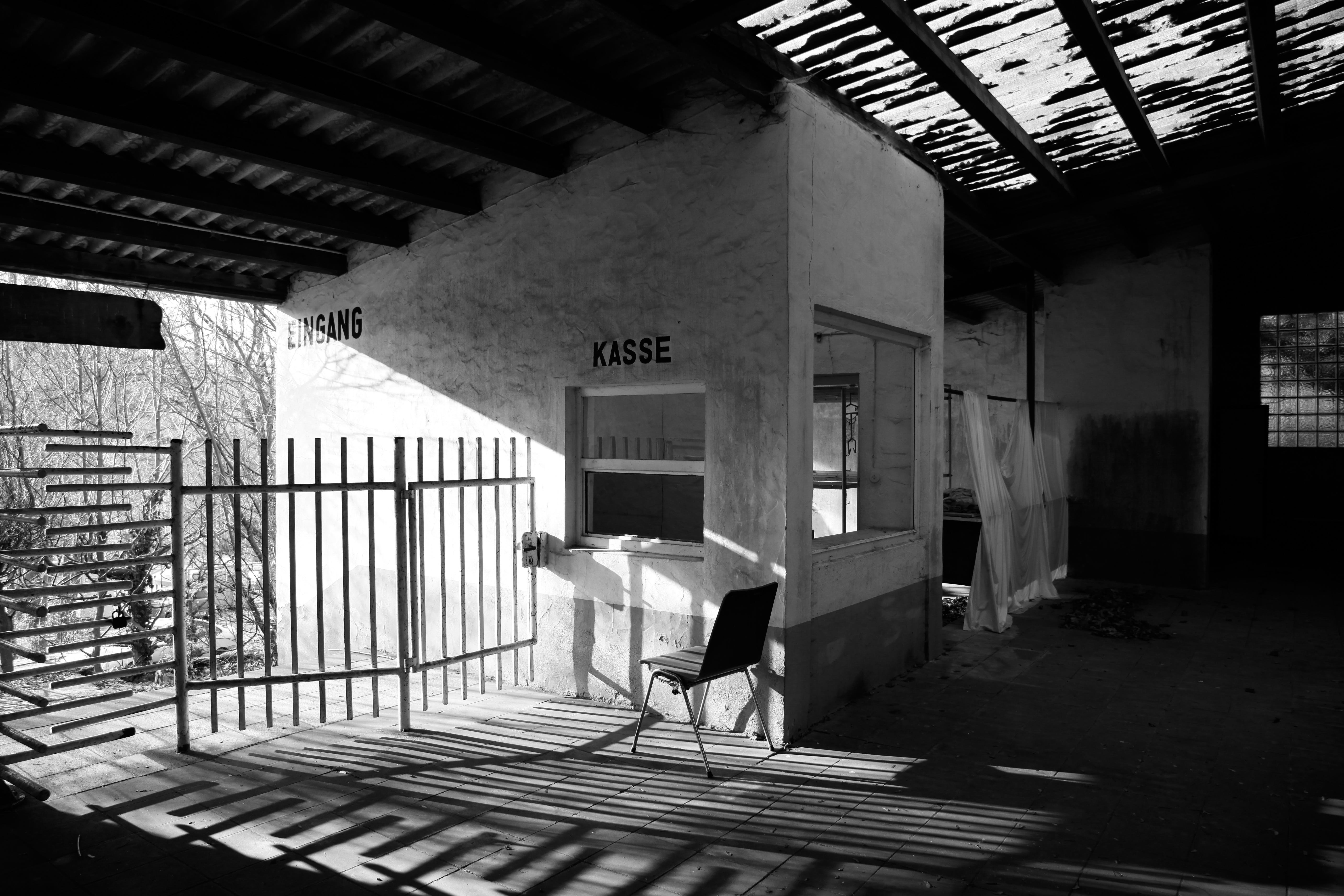 black-and-white, building, chair