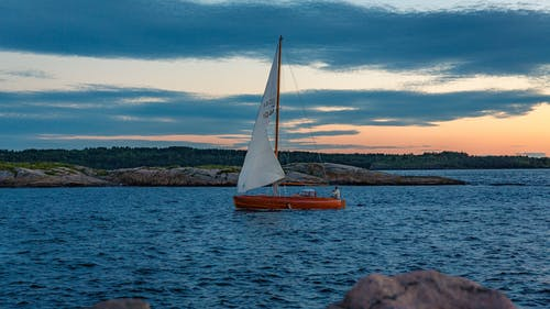 Free stock photo of sailboat, sunset
