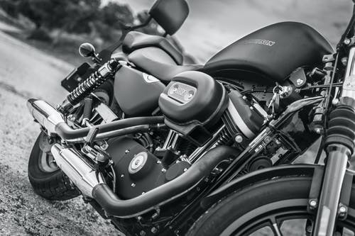 Black And White Photo Of Motorcycle