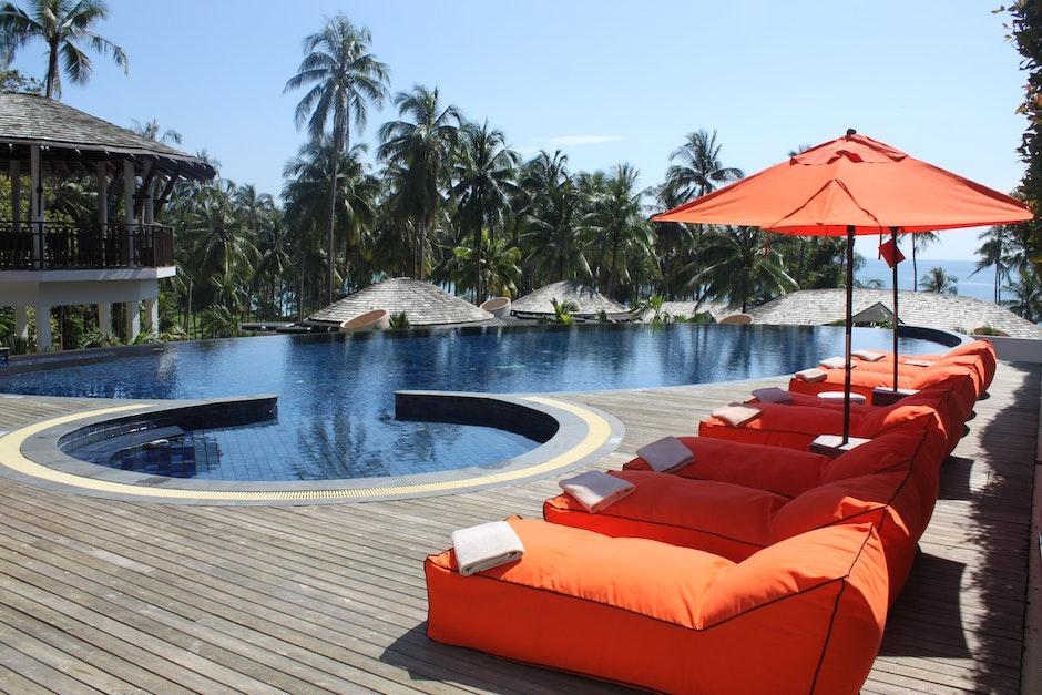 hotel, leisure, palm trees
