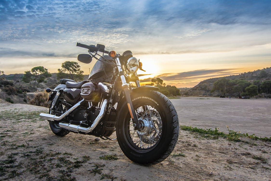 Cruiser Motorcycle on Dirt Road