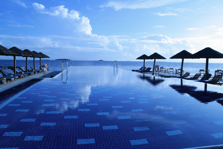 Lounge Chairs Around Infinity Pool