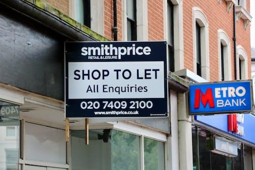 Free stock photo of high street, Metro Bank, shop to let