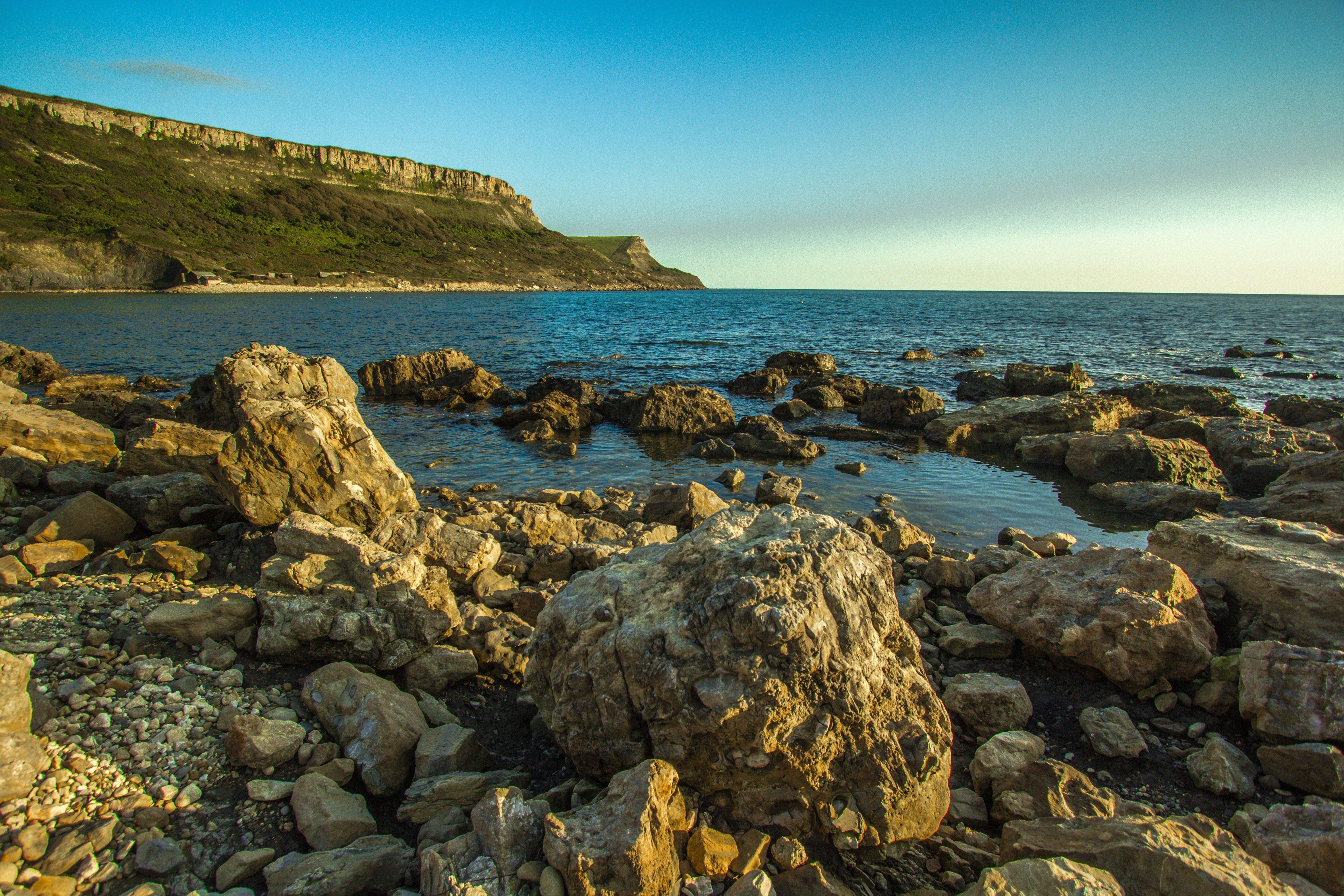 Free stock photo of sea, bay, stones, chapman's pool
