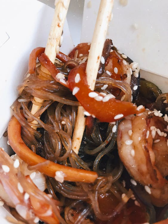 Close-Up Photo of Japchae