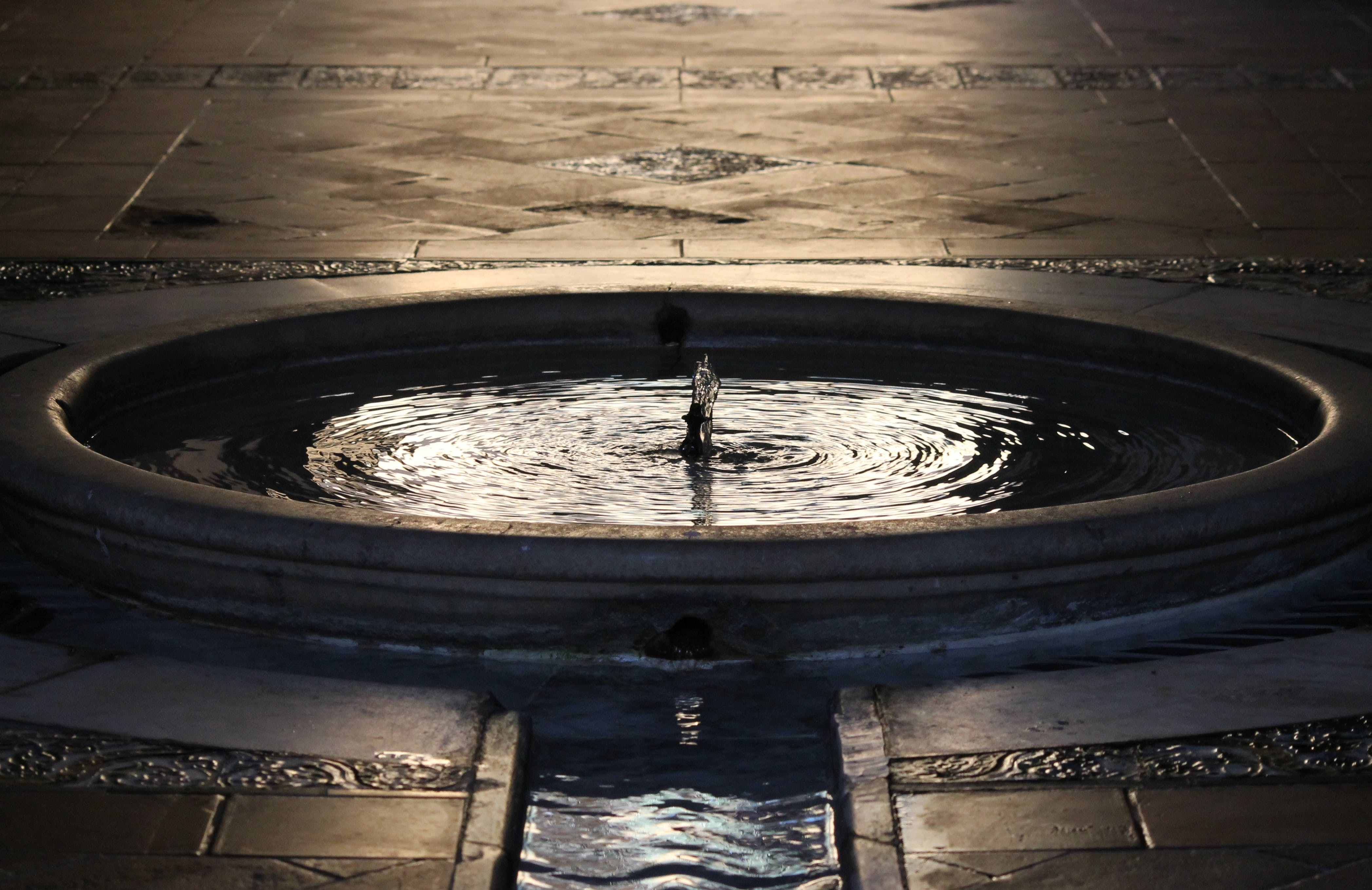 Water in Concrete Fountain