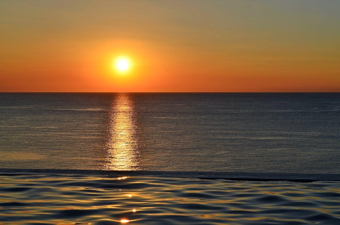 glød, hav, havudsigt