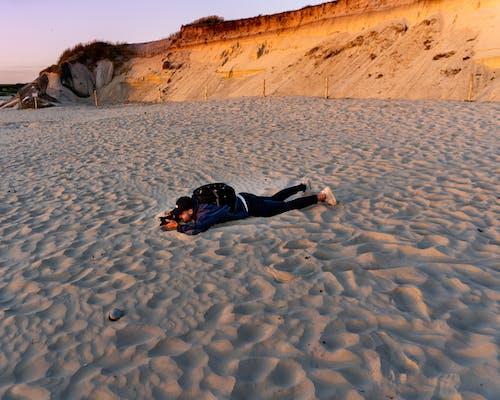 Free stock photo of beach, camera, dune, Lying down