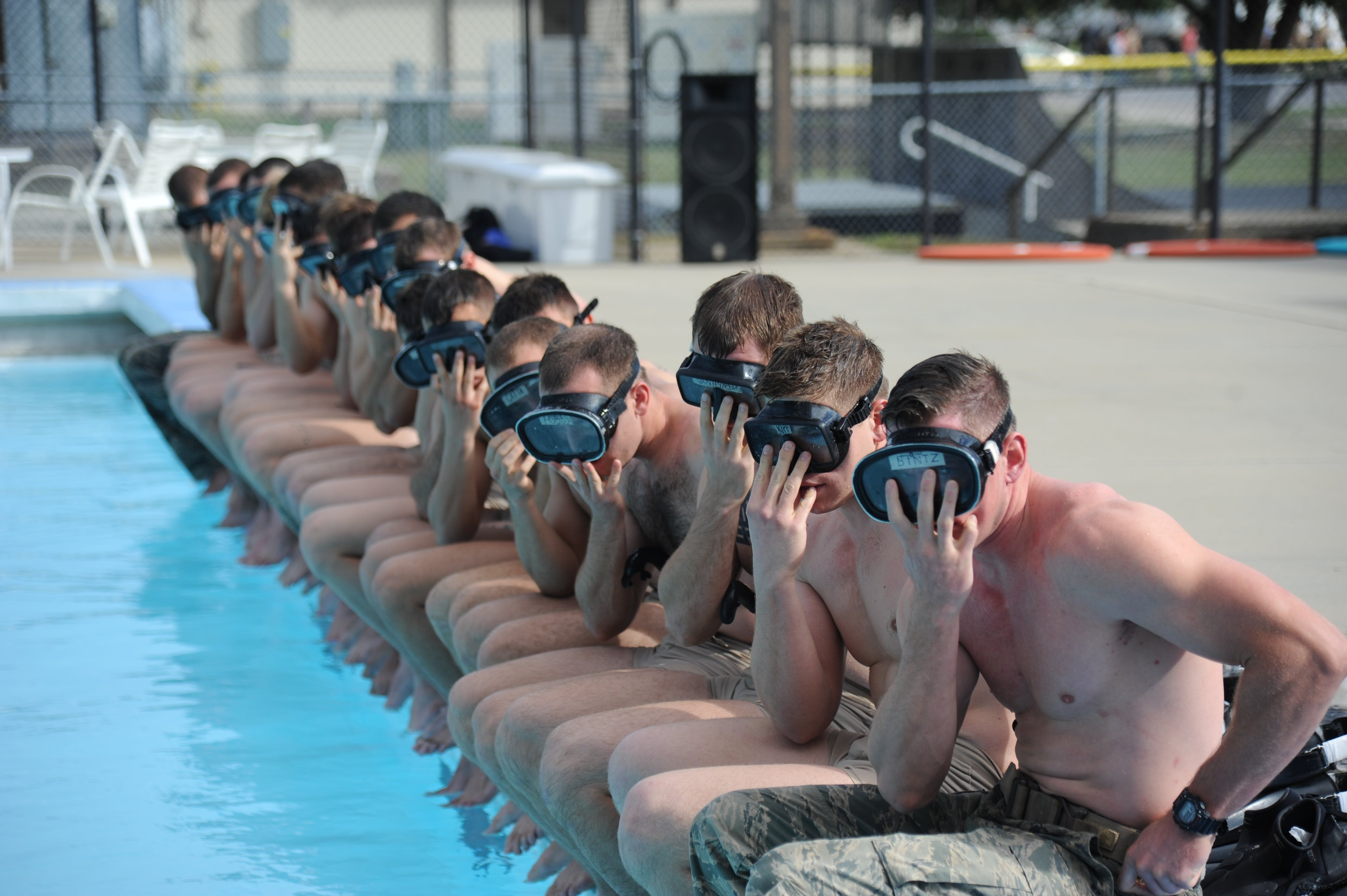 Free stock photo of water, swimming, group, military
