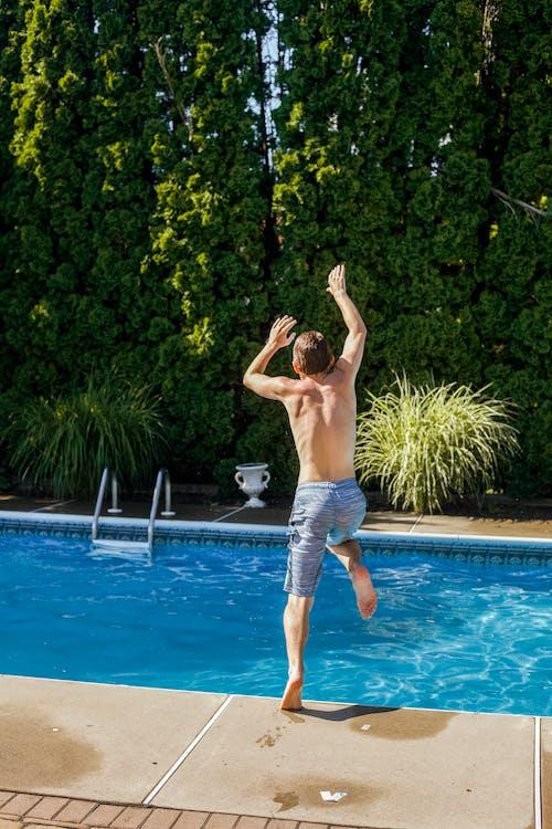 bazén, chlap, chlapec