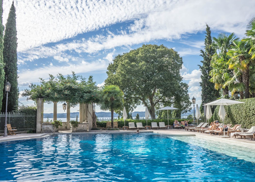 Pool Near Trees and Loungers Under Cloudy Sky