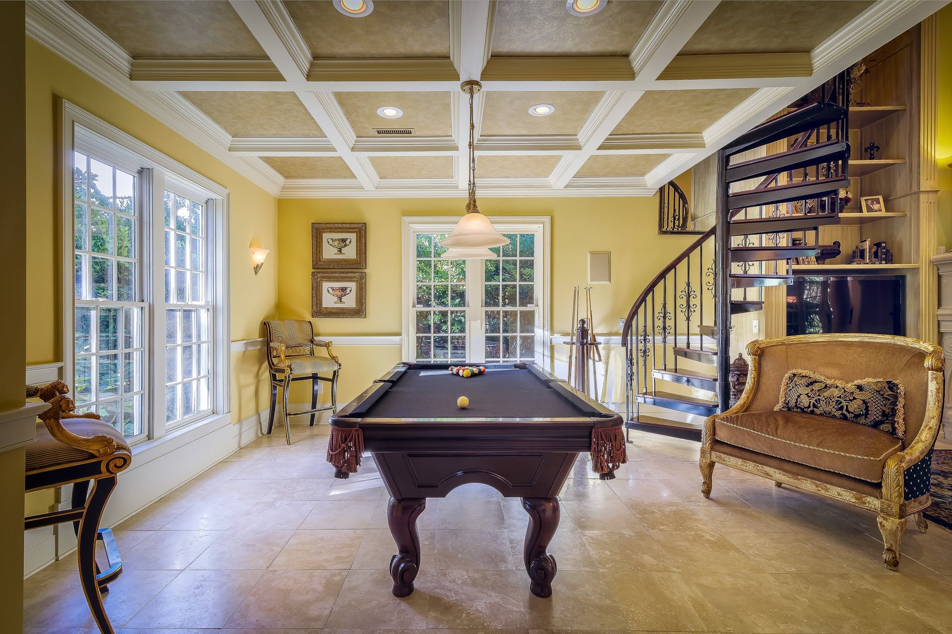 Brown Wooden Billiards Table in Center of Concrete Room