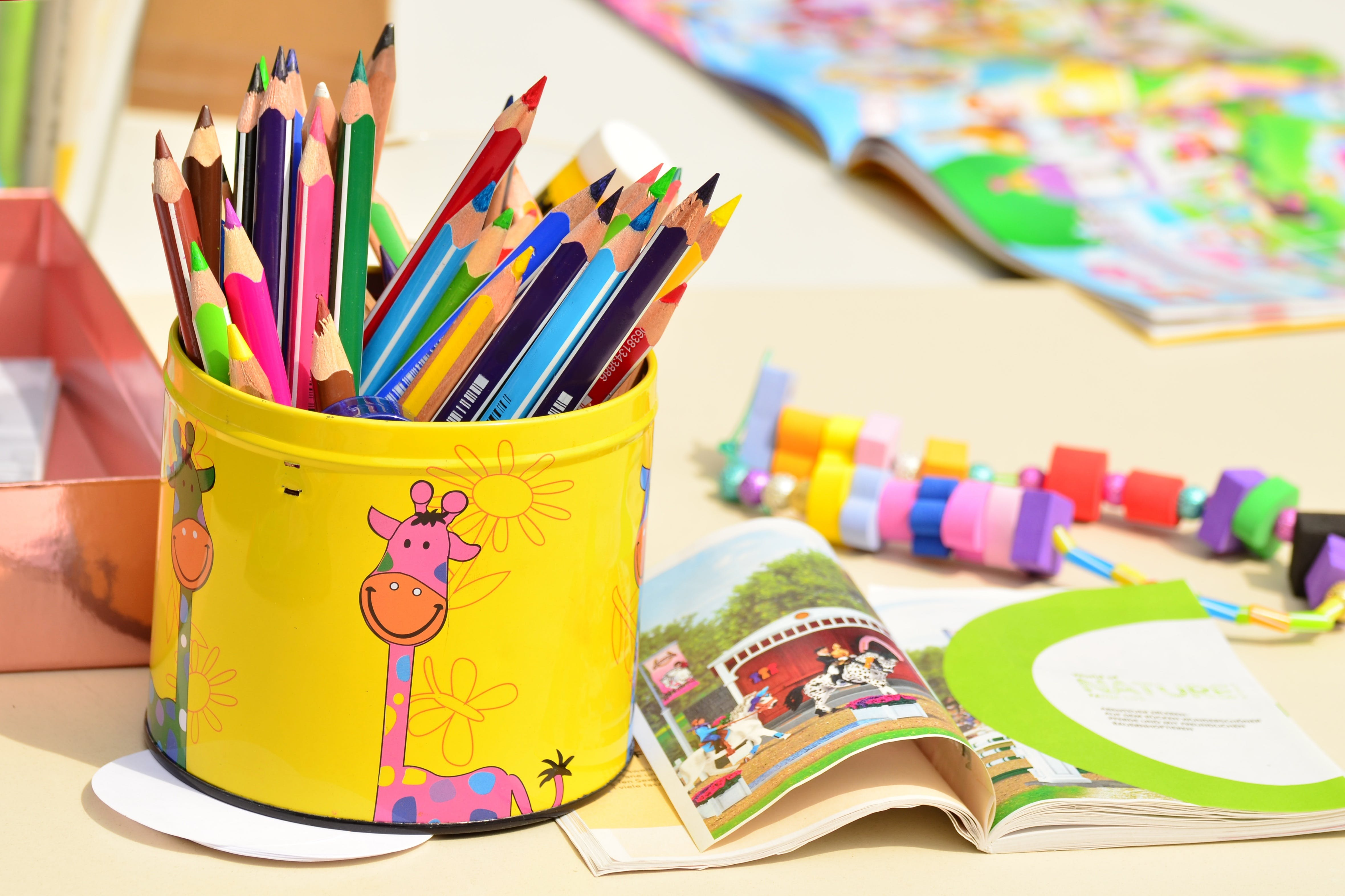 Free stock photo of pens, paint, crayons, colored pencils
