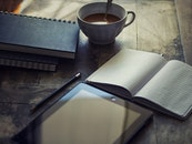 wood, coffee, notebook