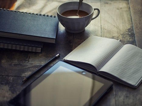 Free stock photo of wood, coffee, notebook, pencil
