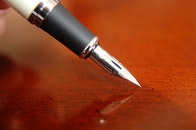 wood, desk, pen