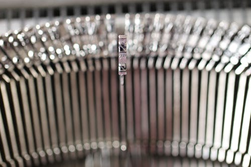 Graues Metall Schreibmaschinenteil Im Nahaufnahmefoto