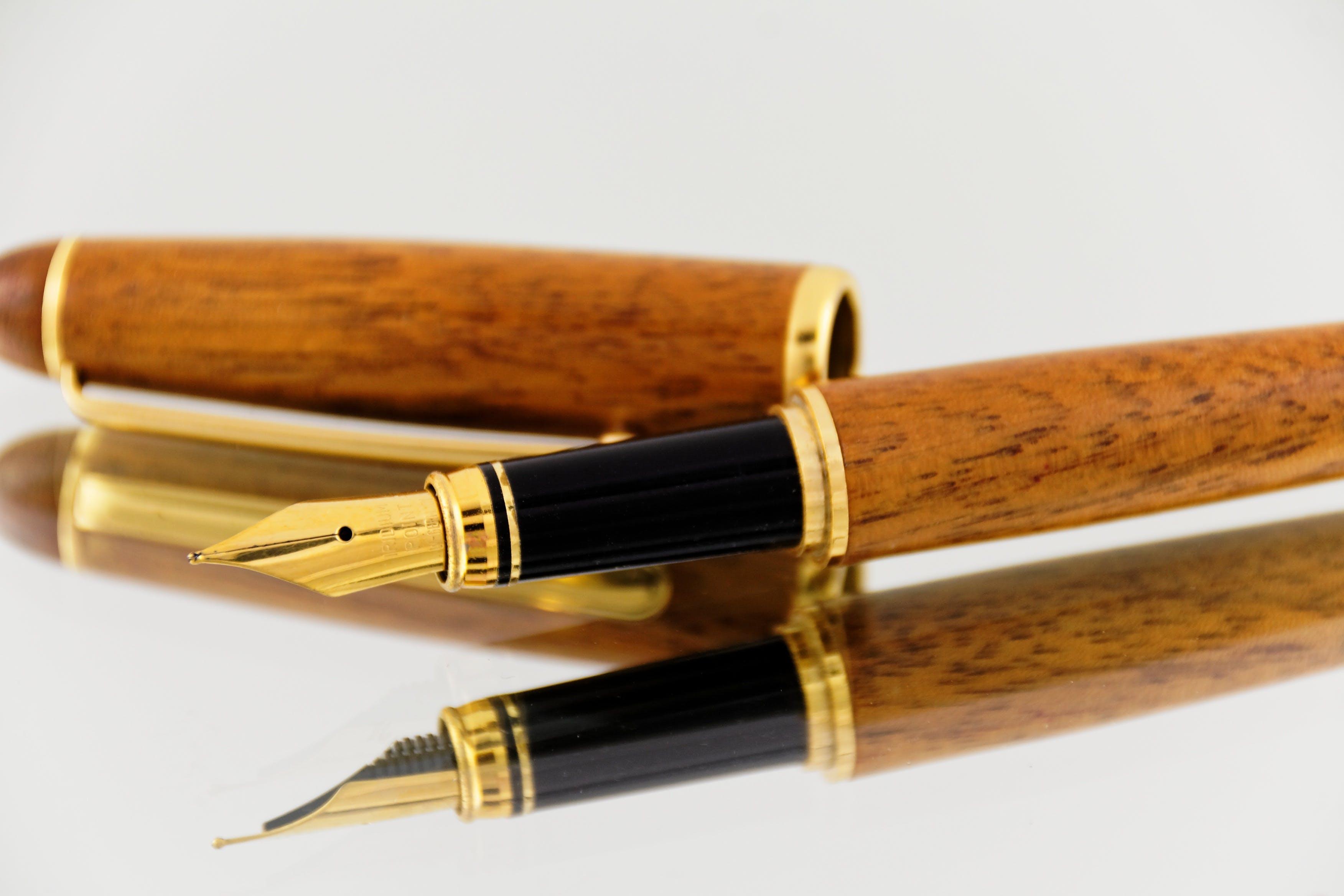 Brown Cigar Fountain Pen on Mirror