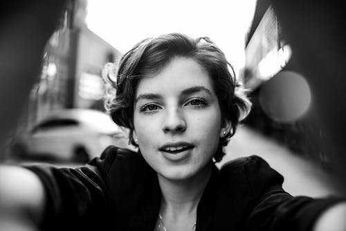 Monochrome Photo of Woman With Short Hair