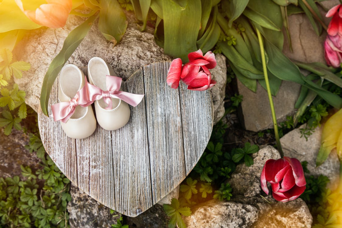 Pair Of White Shoes On Heart Shaped Wood