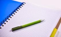 notebook, pen, paper