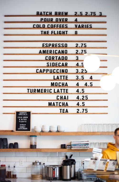 Photo of coffee and tea menu