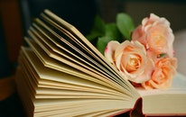 romantic, flowers, books