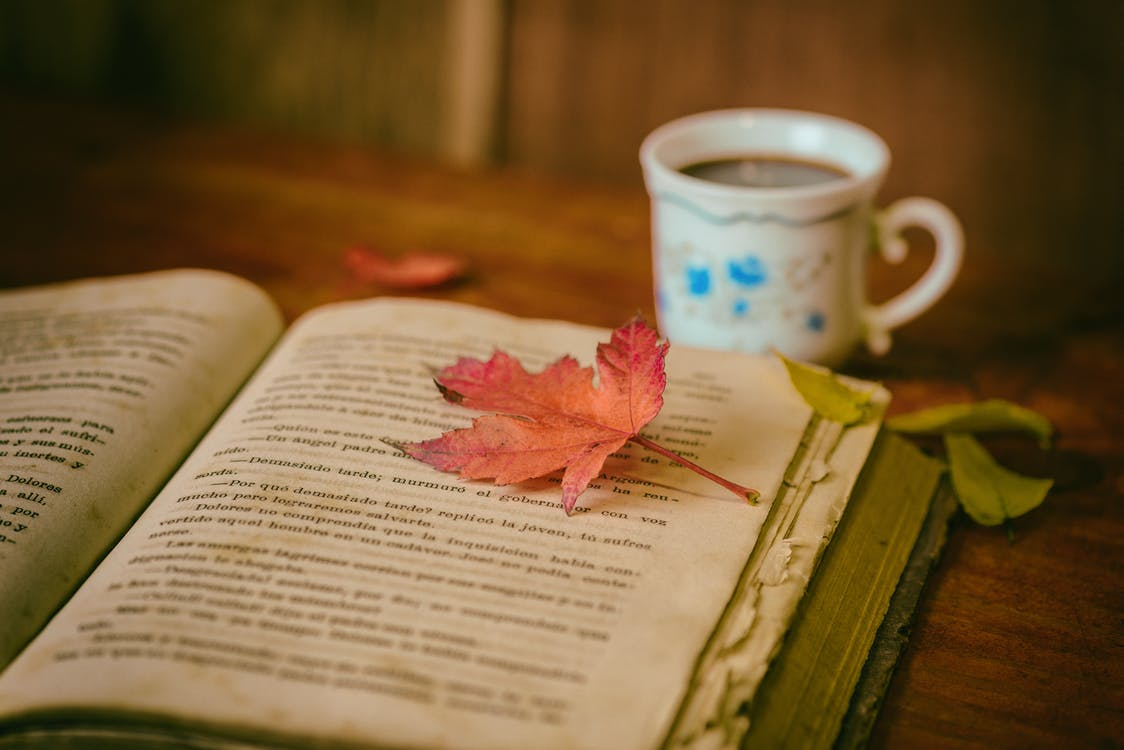 Maple Leaf on Book Page Beside Cup of Coffee on Table