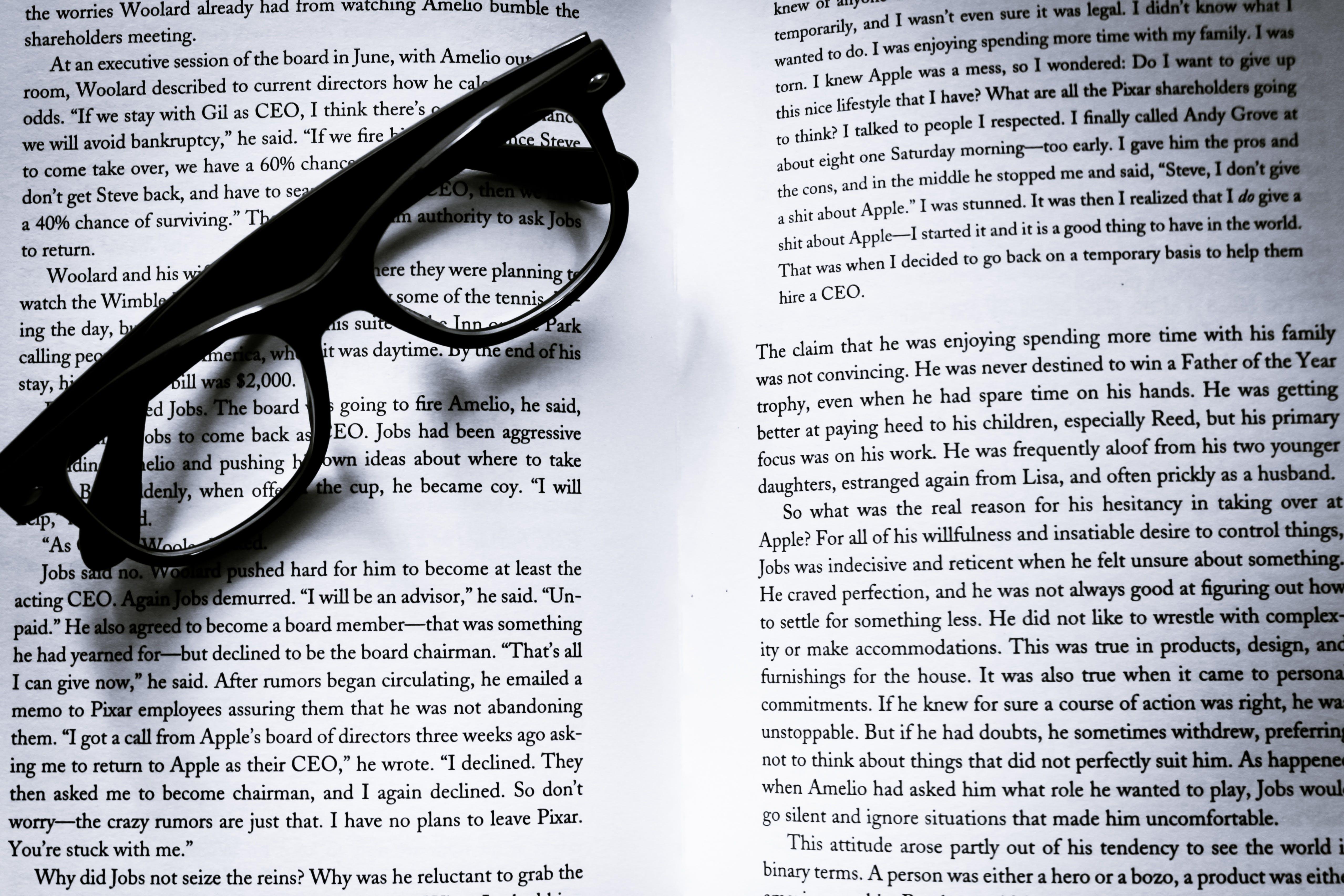 Eyeglasses on Top of Bookpage