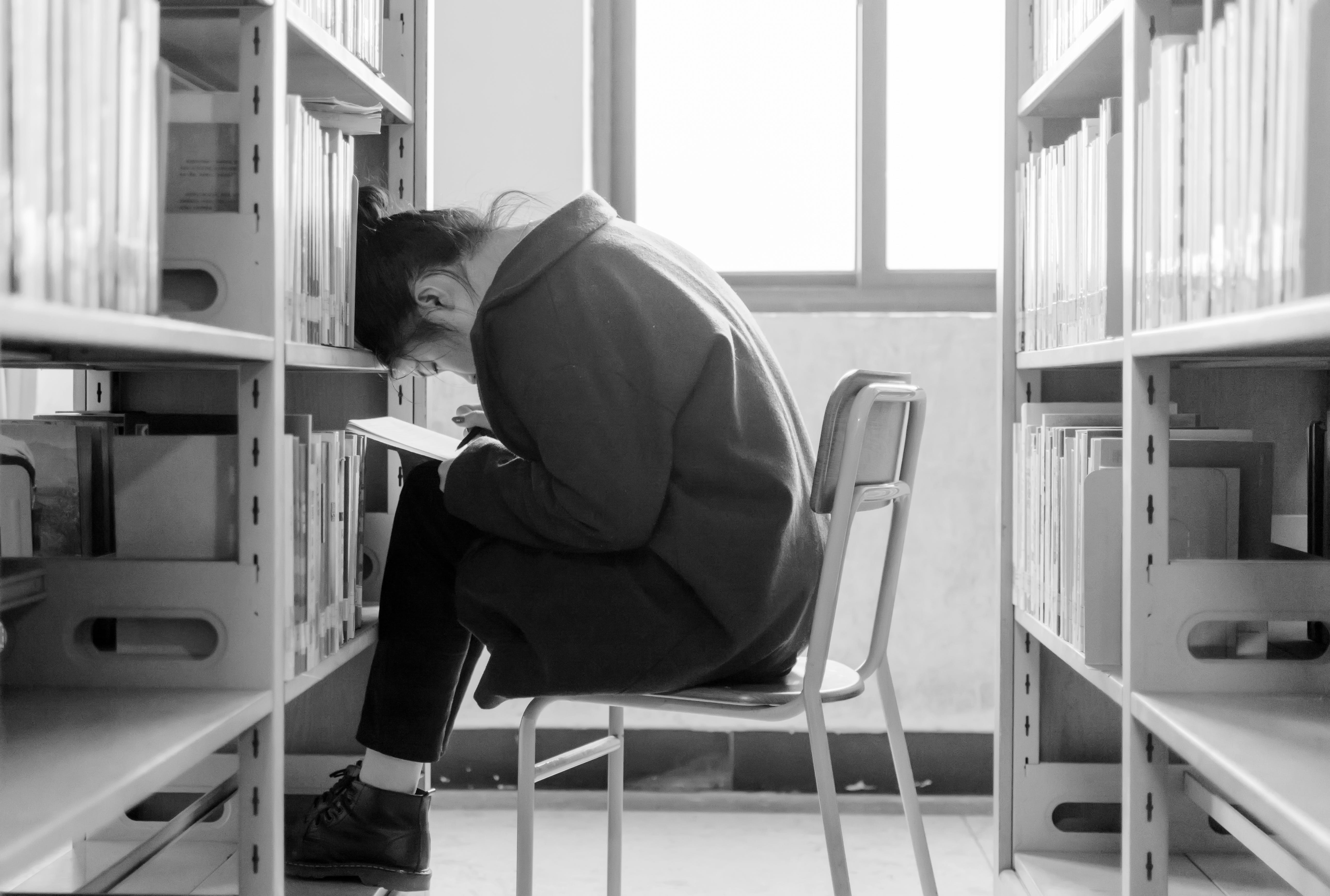 Free stock photo of black-and-white, people, library, read