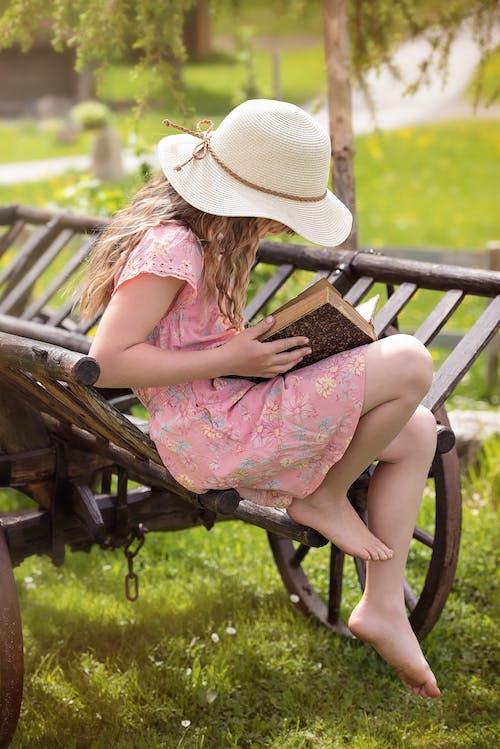 Foto d'estoc gratuïta de herba, lectura, llegint, nena
