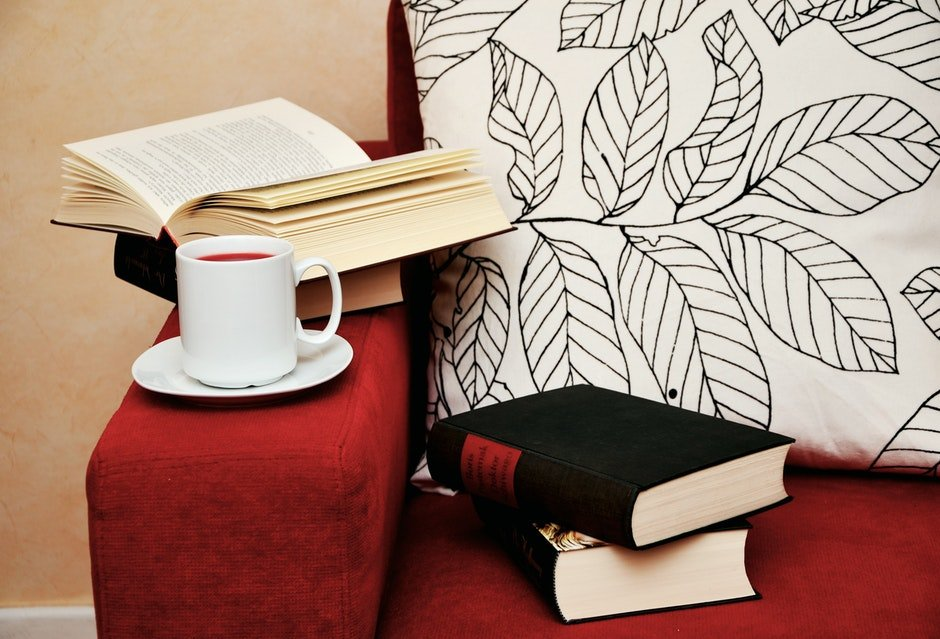 armchair, book, books