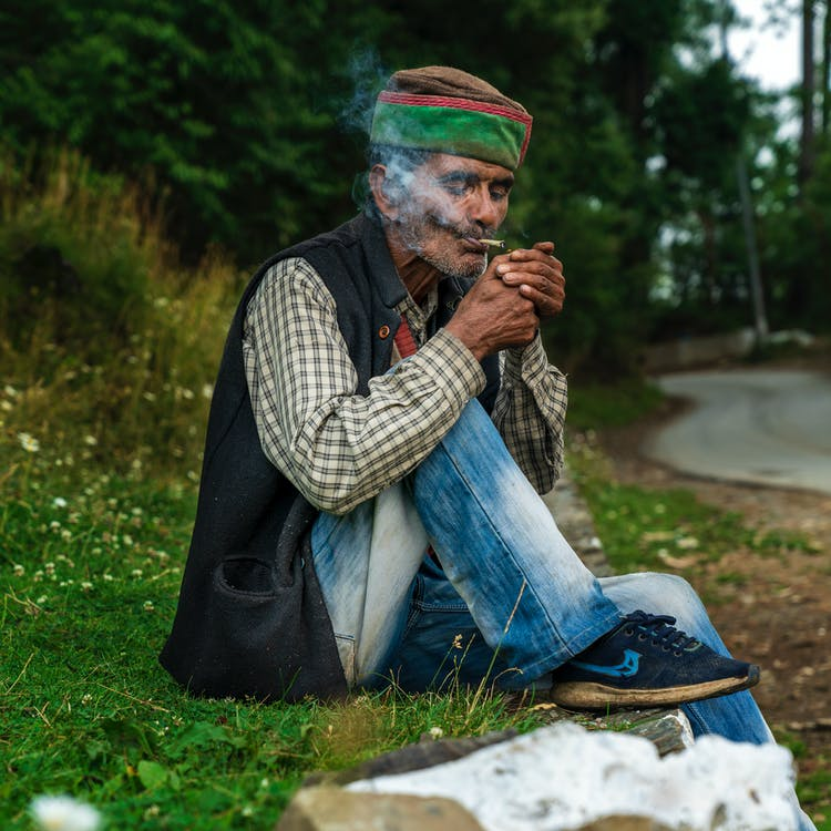portrait, smoke, smoking