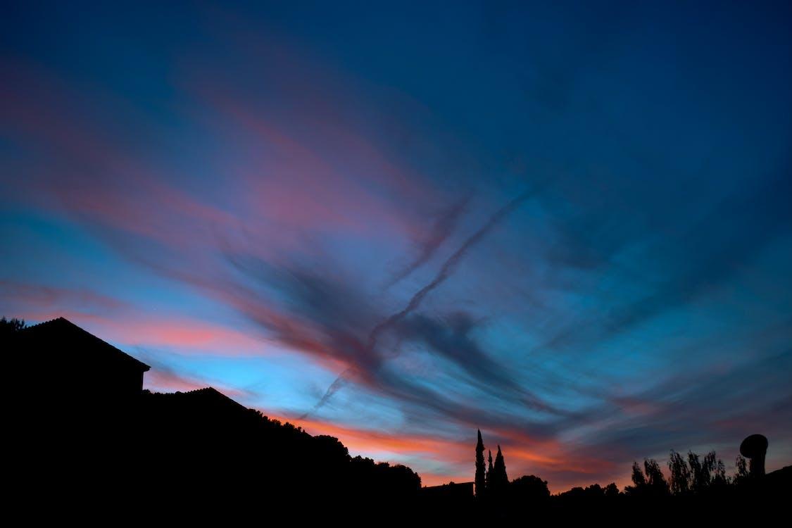 Δωρεάν στοκ φωτογραφιών με γαλάζιος ουρανός, ουρανός, πορτοκαλί ουρανός