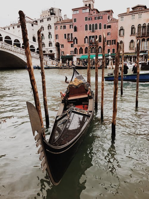 Brown Wooden Boat At Venice