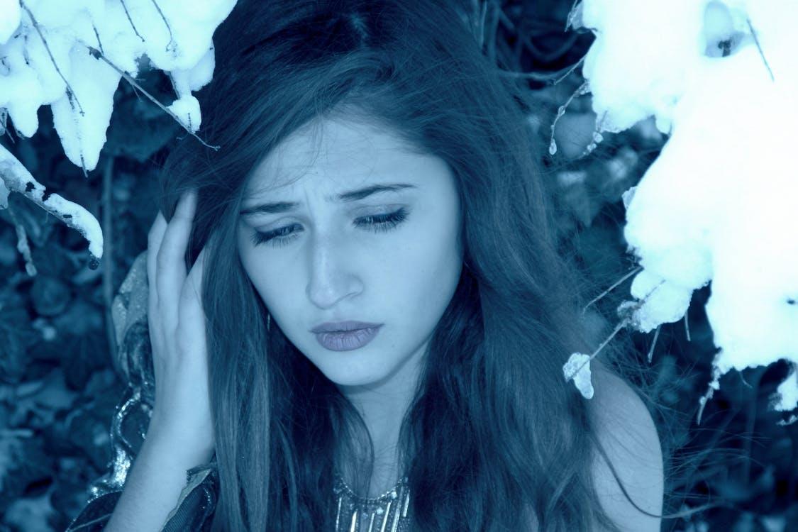 cold, girl, sadness