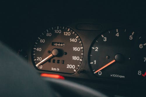 Close-up photo of car instrument panel