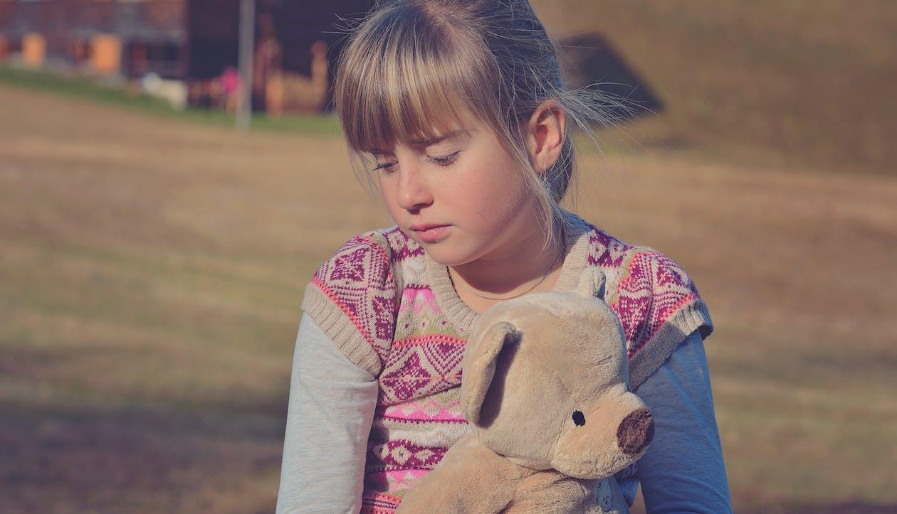 Girl Holding Brown Teddy Bear