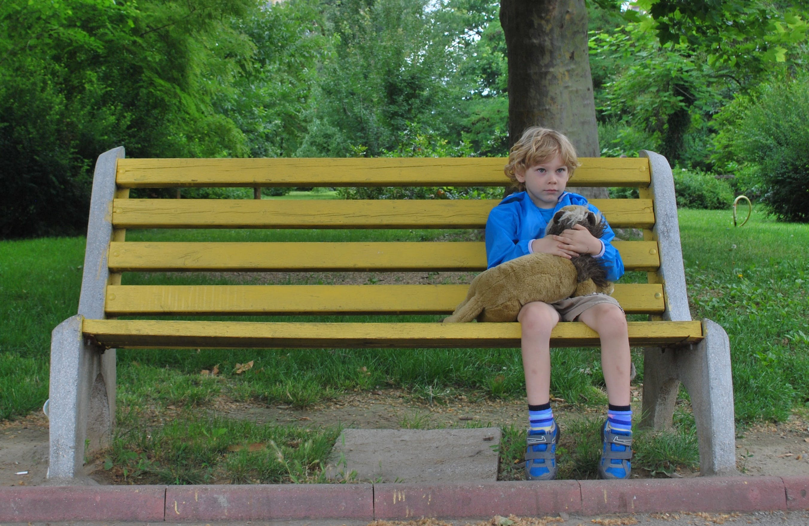 Free stock photo of bench, sitting, child, toy