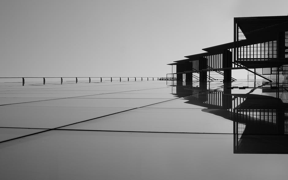 Abstract architecture black and white boardwalk