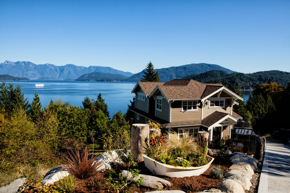 house, lake, mountains