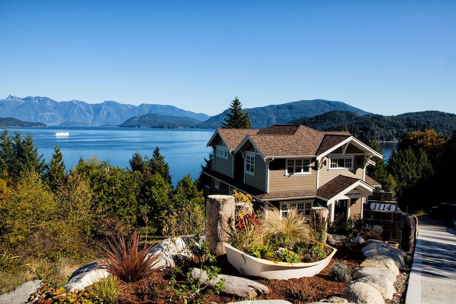 house, lake, mountains