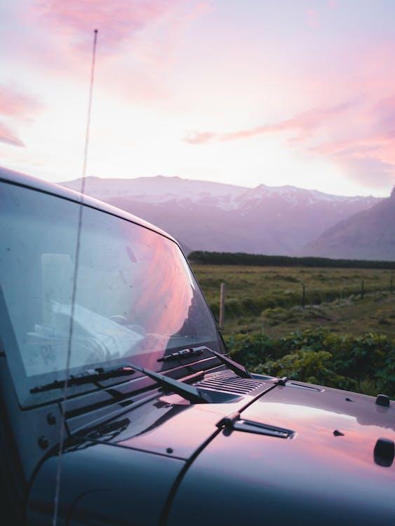 automobile, pare-brise, paysage