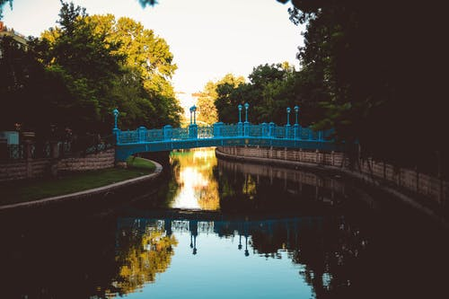 Free stock photo of blue, bridge, lake, river