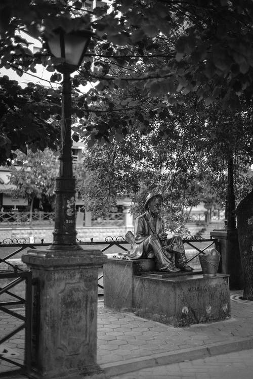 Free stock photo of b&w, lamp, river, statue