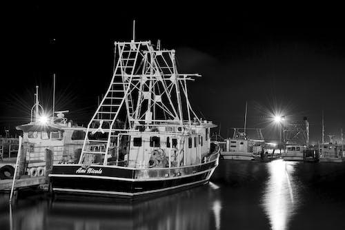 Photos gratuites de bateau, crevette, noir et blanc, nuit